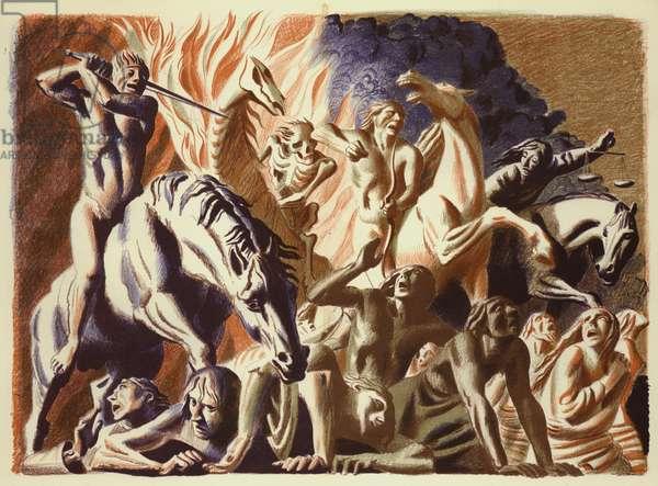 Revelation of St John: The Four Horsemen (colour litho)