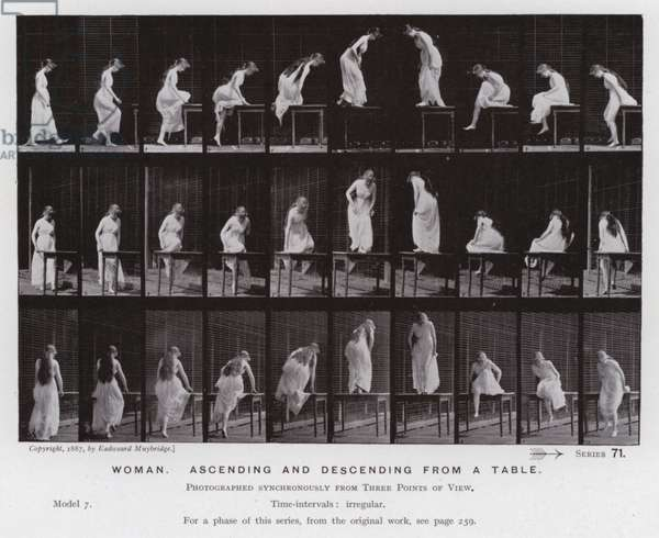 The Human Figure in Motion: Woman, ascending and descending from a table (b/w photo)