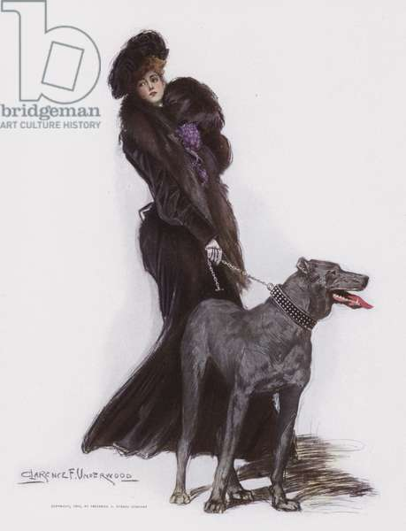 Woman walking her dog (colour litho)