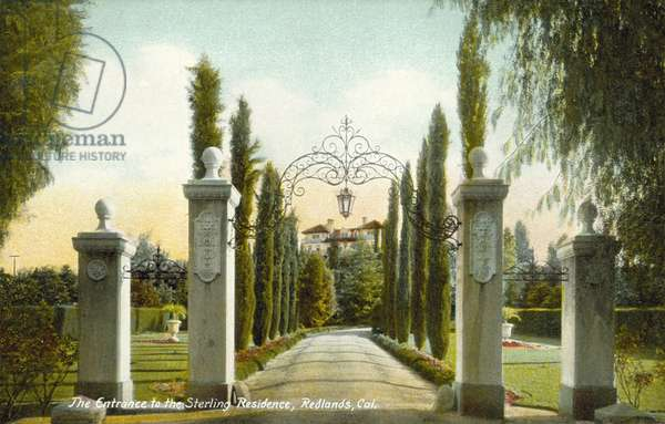 Entrance, The Sterling Residence, Redlands, California, USA (colour photo)