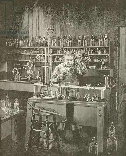 Thomas A Edison- The Wizard of Menlo Park (engraving)