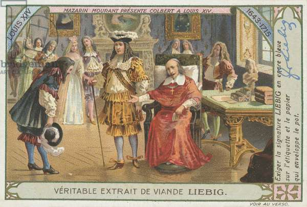 Mazarin presents Colbert to king Louis XIV of France