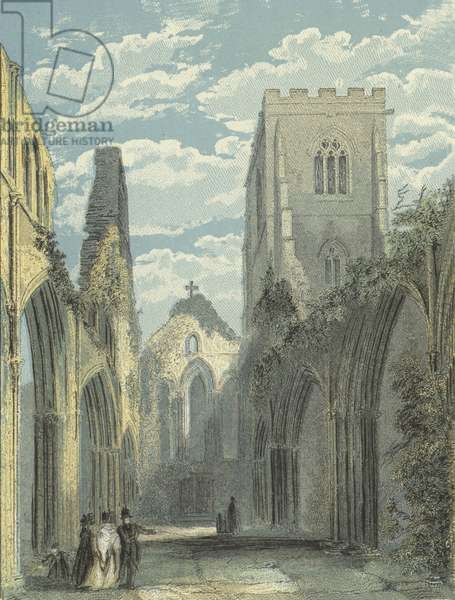 Llandaff Cathedral, Nave looking West (coloured engraving)