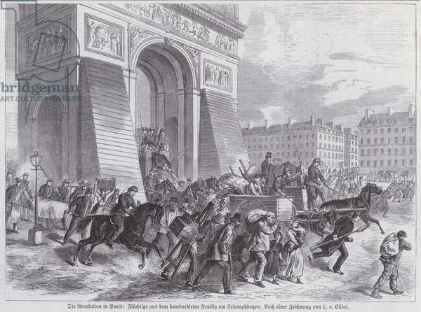 Fugitives from the French Army's bombardment of Neuilly passing the Arc de Triomphe, Paris Commune, April 1871 (engraving)