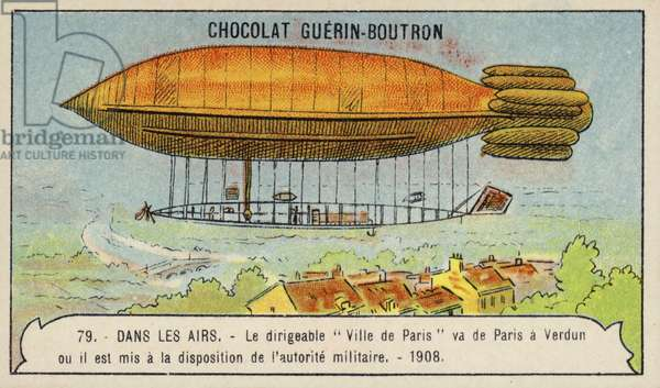 The airship Ville de Paris flying from Paris to Verdun to be placed under military authority, 1908 (chromolitho)