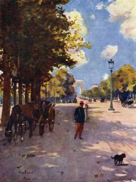 Paris: Champs-Elysees and the Arc de Triomphe (colour litho)