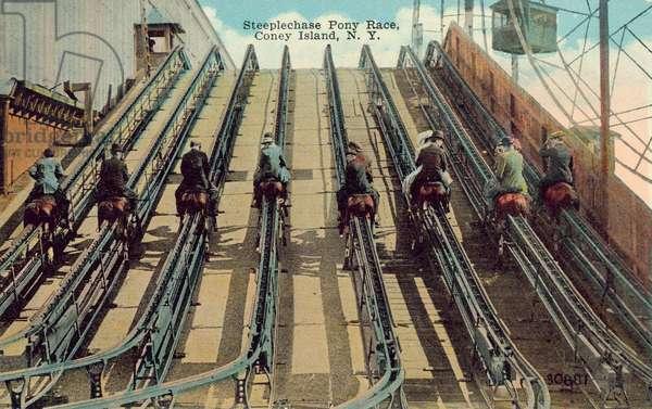 Steeplechase Pony Race, Coney Island (coloured photo)