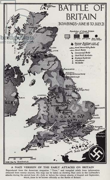 Map showing German bombing raids during the Battle of Britain, World War II, 18 June - 21 July 1940 (litho)