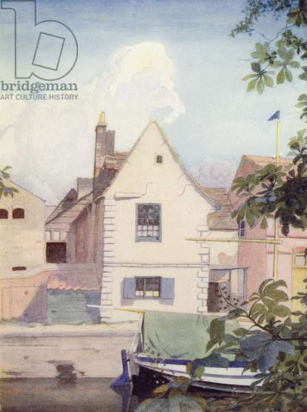 Cambridge: Fishers' Lane, next the Great Bridge (colour litho)