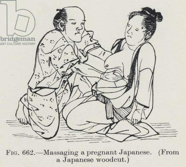 Massaging a pregnant Japanese (litho)