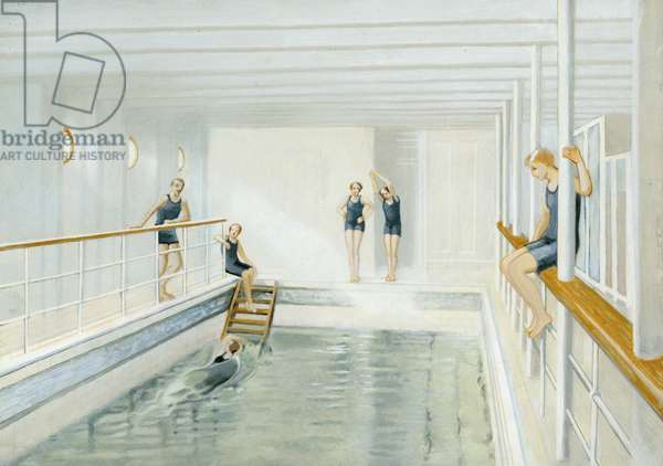 Swimming pool on the Titanic, repainted version of a contemporary illustration (colour litho)