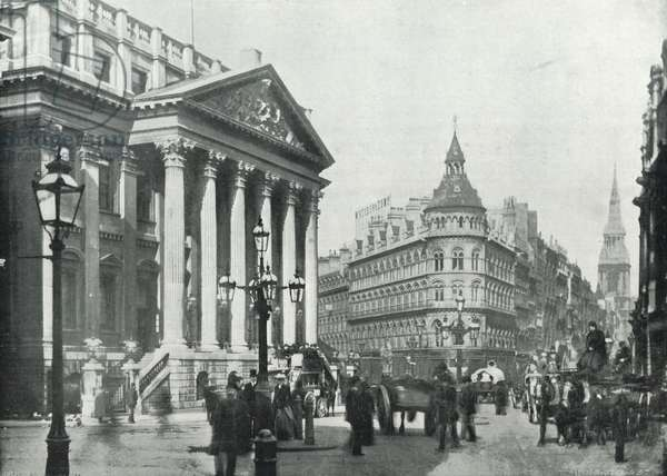 The Mansion House, showing Queen Victoria Street and Cheapside (b/w photo)