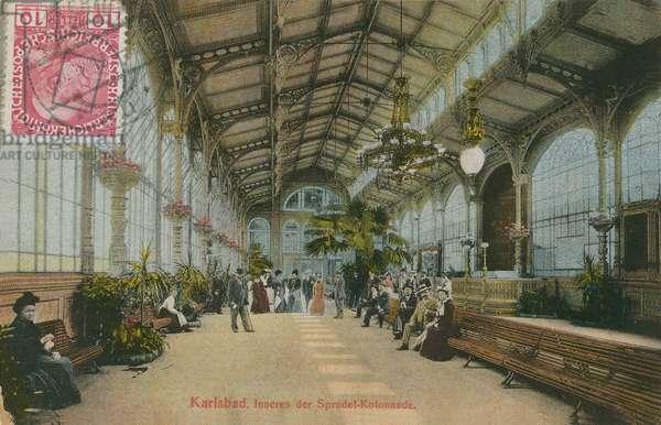 Karlsbad - inside the Colonnade. Postcard sent in 1913.