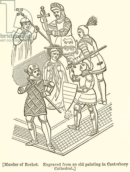 Murder of Becket. Engraved from an Old Painting in Canterbury Cathedral (engraving)