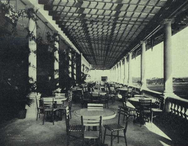 Veranda cafe, Jockey Club, Oriental Park, Cuba (b/w photo)