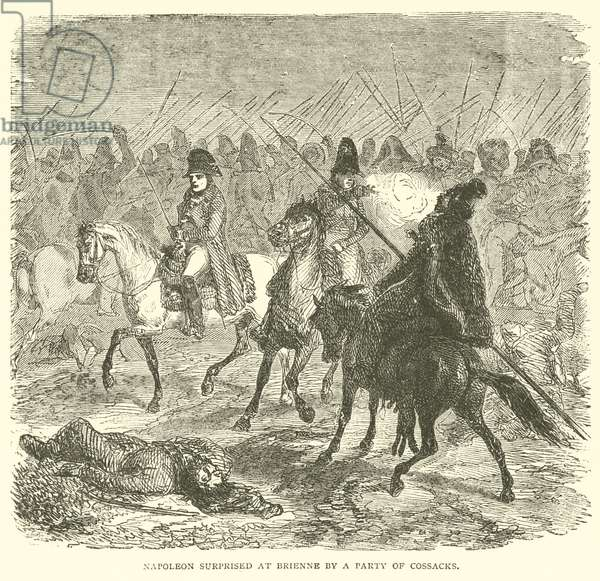 Napoleon surprised at Brienne by a party of Cossacks (engraving)