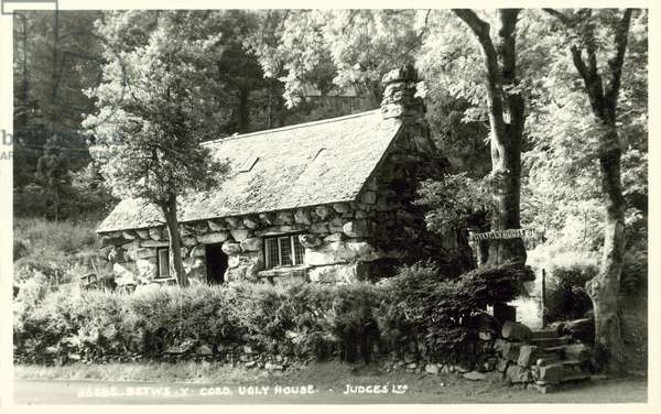 Betws-y-Coed, Ugly House (b/w photo)