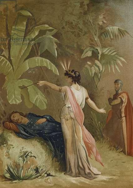 Merlin and Viviane, the Lady of the Lake (chromolitho)