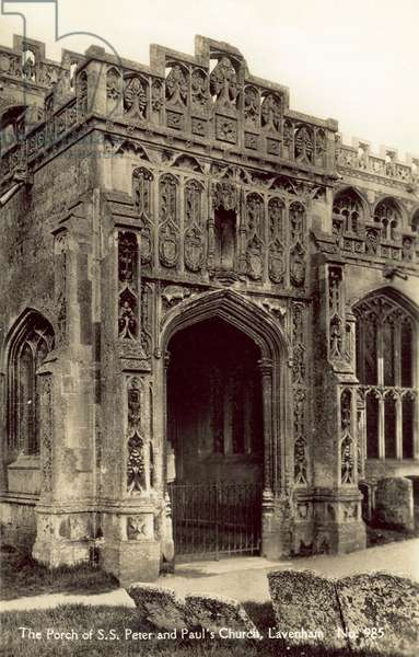The Porch of S S Peter and Paul's Church, Lavenham (b/w photo)