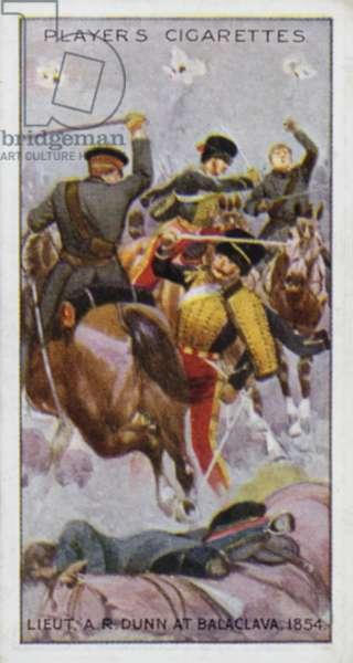Victoria Cross: Lieut (afterwards Lieut-Col) A R Dunn, at Balaclava, 1854 (colour litho)