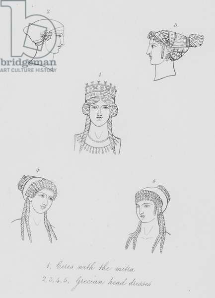 Ceres with the mitra, Grecian head dresses (engraving)