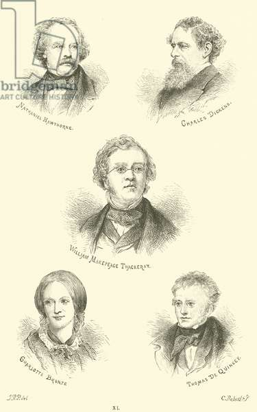 Nathaniel Hawthorne, Charles Dickens, William Makepeace Thackeray, Charlotte Bronte, Thomas De Quincey (engraving)