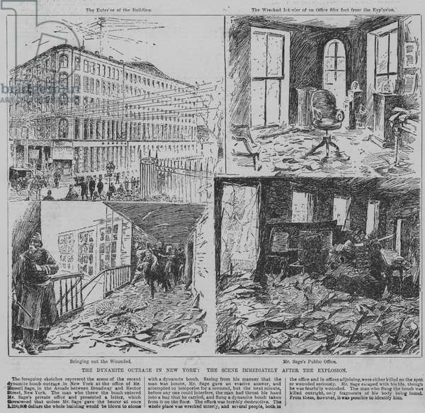 Dynamite bomb attack on the office of Frederick Sage, New York City, USA, 1891 (engraving)