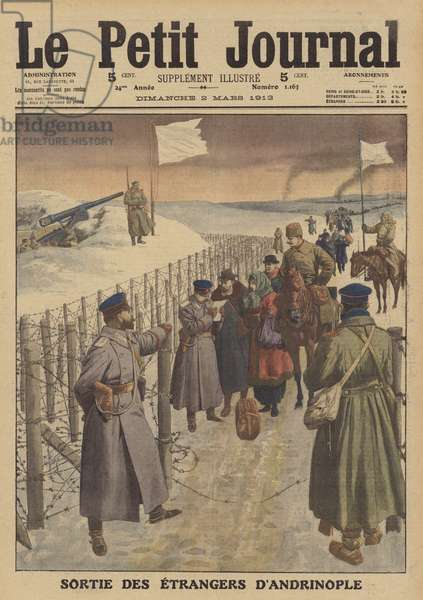 Foreigners being allowed to leave the besieged city of Adrianople (colour litho)