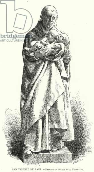 St Vincent de Paul, French Catholic priest, marble statue by Jean Alexandre Joseph Falguiere (litho)