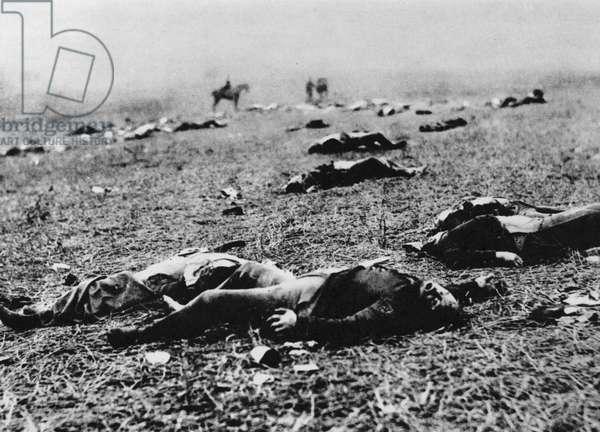 The field of the battle of Gettysburg, 4 July 1863 (b/w photo)
