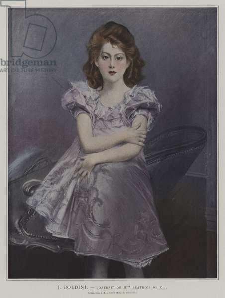 Portrait of Mademoiselle Beatrice de C... (colour litho)