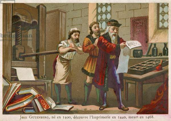 Trade card depicting Johann Gutenberg (chromolitho)