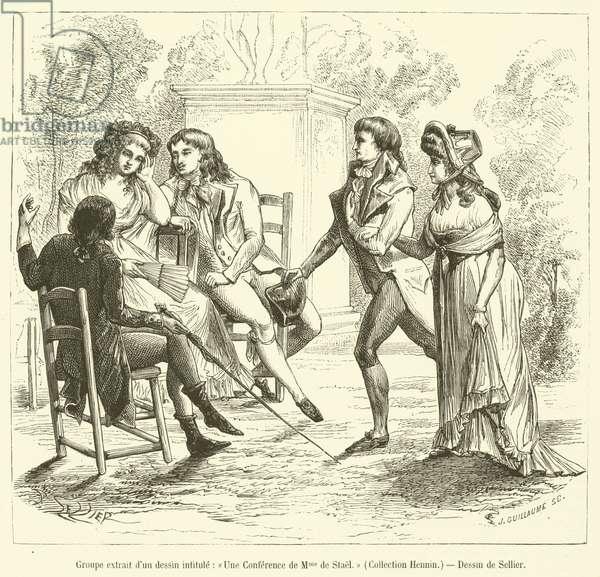 Groupe extrait d'un dessin intitule, Une Conference de Madame de Stael, Collection Hennin (engraving)