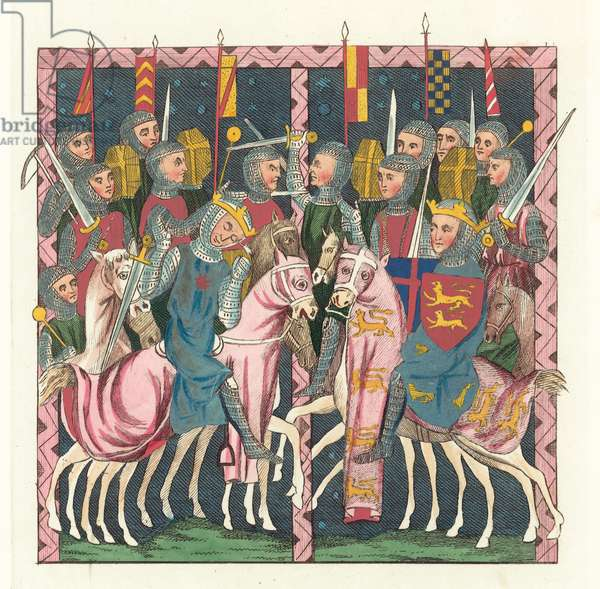 Battle Of Hastings (coloured engraving)