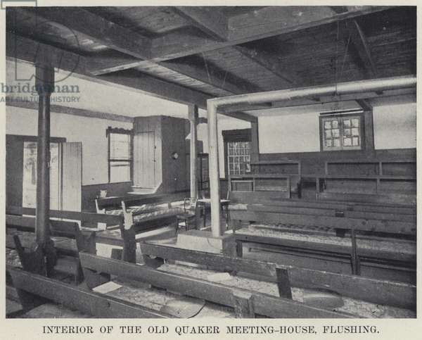 Interior of the Old Quaker Meeting-House, Flushing (b/w photo)