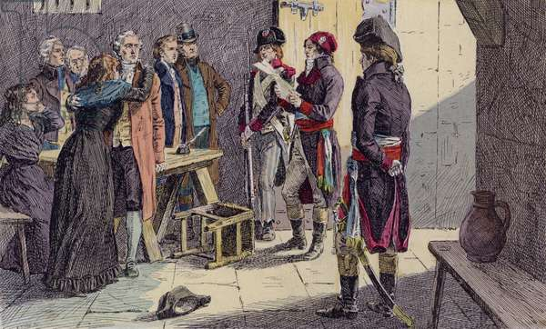 The condemned being summoned from their prison cell during the French Revolutionary Reign of Terror, 1793-1794 (colour litho)
