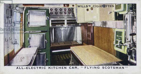 Railway Equipment: All-electric kitchen car, Flying scotsman, London and North Eastern Railway (colour photo)