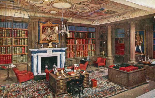 The Queen's Dolls' House: The Library (colour litho)