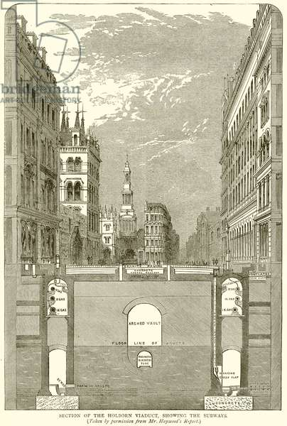 Section of the Holborn Viaduct, showing the Subways (engraving)