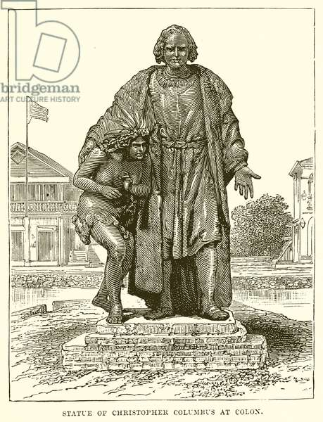 Statue of Christopher Columbus at Colon (engraving)