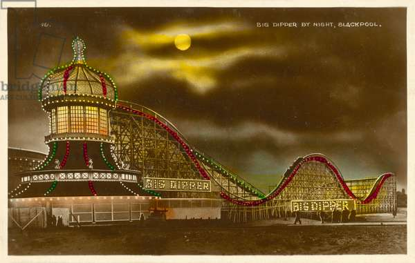 Big Dipper by Night, Blackpool (colour photo)