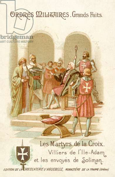 Philippe Villiers de L'Isle-Adam, Grand Master of the Knights Hospitaller on Rhodes, receiving the envoys of Suleiman the Magnificent, 1522 (chromolitho)