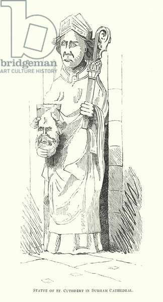 Statue of St Cuthbert in Durham Cathedral (engraving)