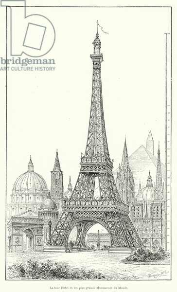 La tour Eiffel et les plus grands Monuments du Monde (engraving)