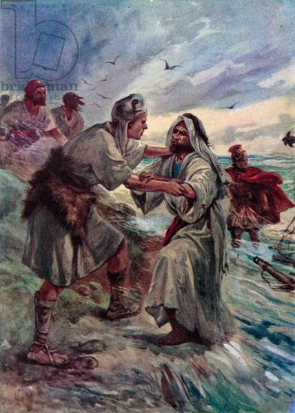 Paul shipwrecked (colour litho)