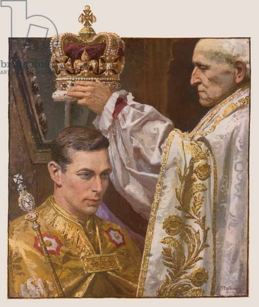 The crowning of King George VI (colour litho)