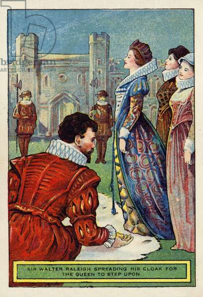 Sir Walter Raleigh Spreading His Cloak for the Queen to Step on (chromolitho)