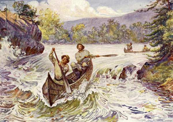 Canadians shooting rapids in canoes (colour litho)