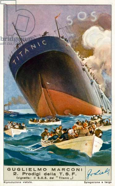 The Titanic sending an SOS message by wireless, 1912 (chromolitho)