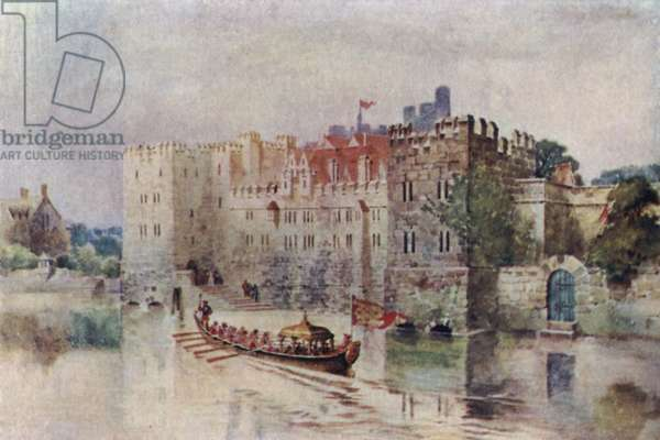 The Old Savoy Palace in the time of King Henry VIII, now the site of the Savoy Hotel (colour litho)